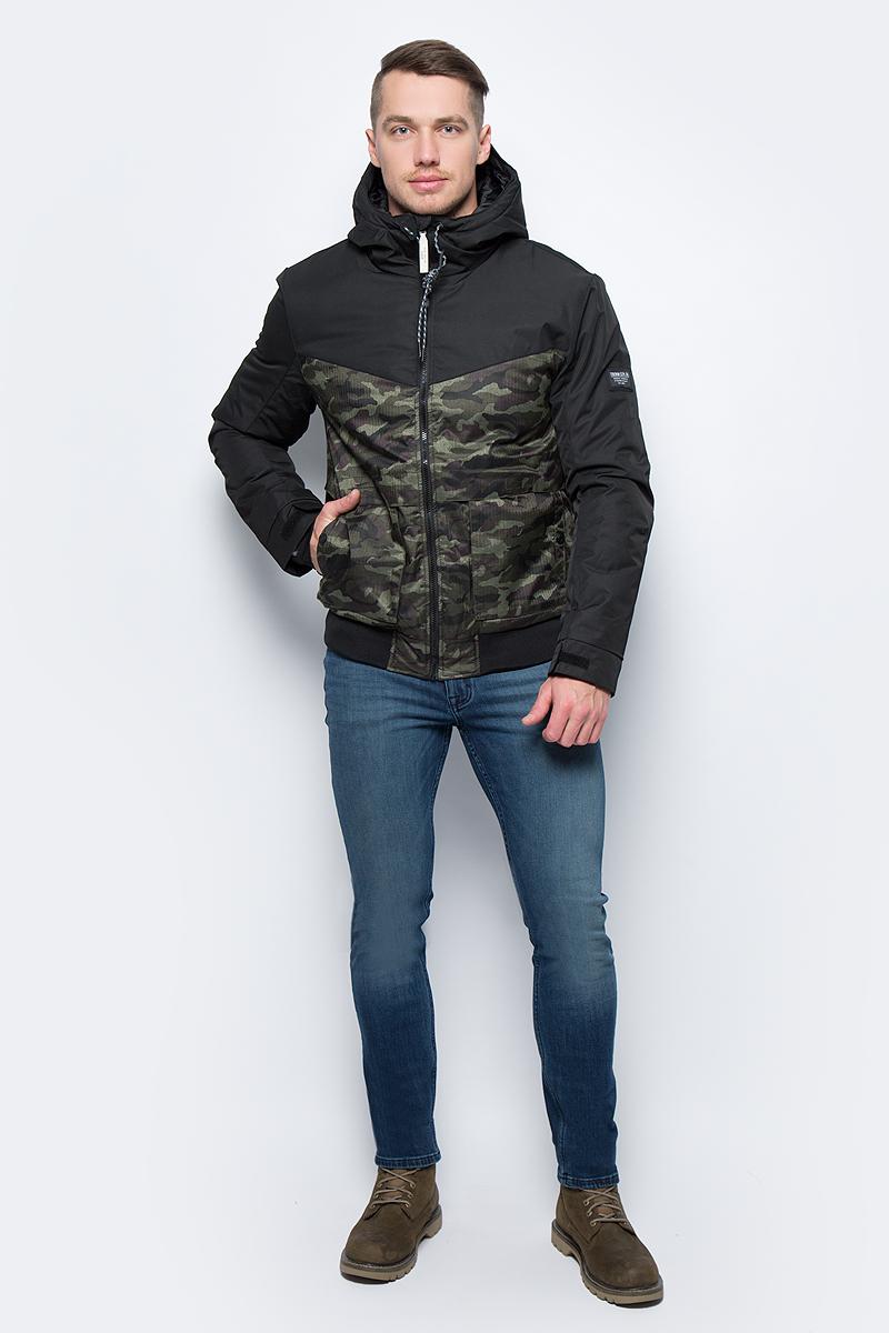 Куртка мужская Tom Tailor, цвет: черный. 3555026.00.12_1000. Размер XL (52)3555026.00.12_1000Теплая мужская куртка от Tom Tailor выполнена из высококачественного материала. Модель с капюшоном и длинными рукавами застегивается на молнию. По бокам куртка дополнена карманами.
