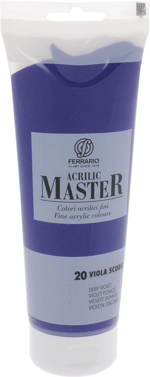 Ferrario Краска акриловая Acrilic Master цвет №20 фиолетовый темныйBM0978B0020Акриловые краски серии Acrilic Master итальянской компании Ferrario. Универсальны в применении, так как хорошо ложатся на любую обезжиренную поверхность: бумага, холст, картон, дерево, керамика, пластик. При изготовлении красок используются высококачественные пигменты мелкого помола. Краска быстро сохнет, обладает отличной укрывистостью и насыщенностью цвета. Работы, сделанные с помощью Acrilic Master, не тускнеют и не выгорают на солнце. Все цвета отлично смешиваются между собой и при необходимости разбавляются водой. Для достижения необходимых эффектов применяют различные медиумы для акриловой живописи.