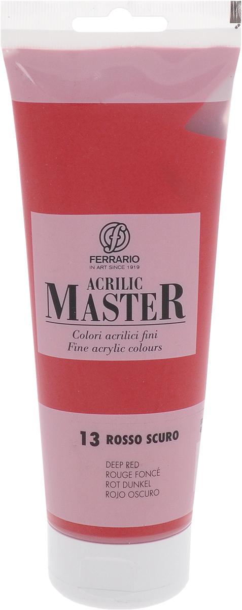 Ferrario Краска акриловая Acrilic Master цвет №13 красный темный BM0978B0013BM0978B0013Акриловые краски серии Acrilic Master итальянской компании Ferrario. Универсальны в применении, так как хорошо ложатся на любую обезжиренную поверхность: бумага, холст, картон, дерево, керамика, пластик. При изготовлении красок используются высококачественные пигменты мелкого помола. Краска быстро сохнет, обладает отличной укрывистостью и насыщенностью цвета. Работы, сделанные с помощью Acrilic Master, не тускнеют и не выгорают на солнце. Все цвета отлично смешиваются между собой и при необходимости разбавляются водой. Для достижения необходимых эффектов применяют различные медиумы для акриловой живописи.