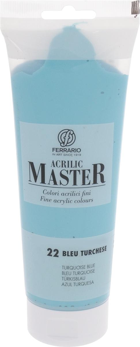 Ferrario Краска акриловая Acrilic Master цвет №22 бирюзовый BM0978B0022BM0978B0022Акриловые краски серии Acrilic Master итальянской компании Ferrario. Универсальны в применении, так как хорошо ложатся на любую обезжиренную поверхность: бумага, холст, картон, дерево, керамика, пластик. При изготовлении красок используются высококачественные пигменты мелкого помола. Краска быстро сохнет, обладает отличной укрывистостью и насыщенностью цвета. Работы, сделанные с помощью Acrilic Master, не тускнеют и не выгорают на солнце. Все цвета отлично смешиваются между собой и при необходимости разбавляются водой. Для достижения необходимых эффектов применяют различные медиумы для акриловой живописи.