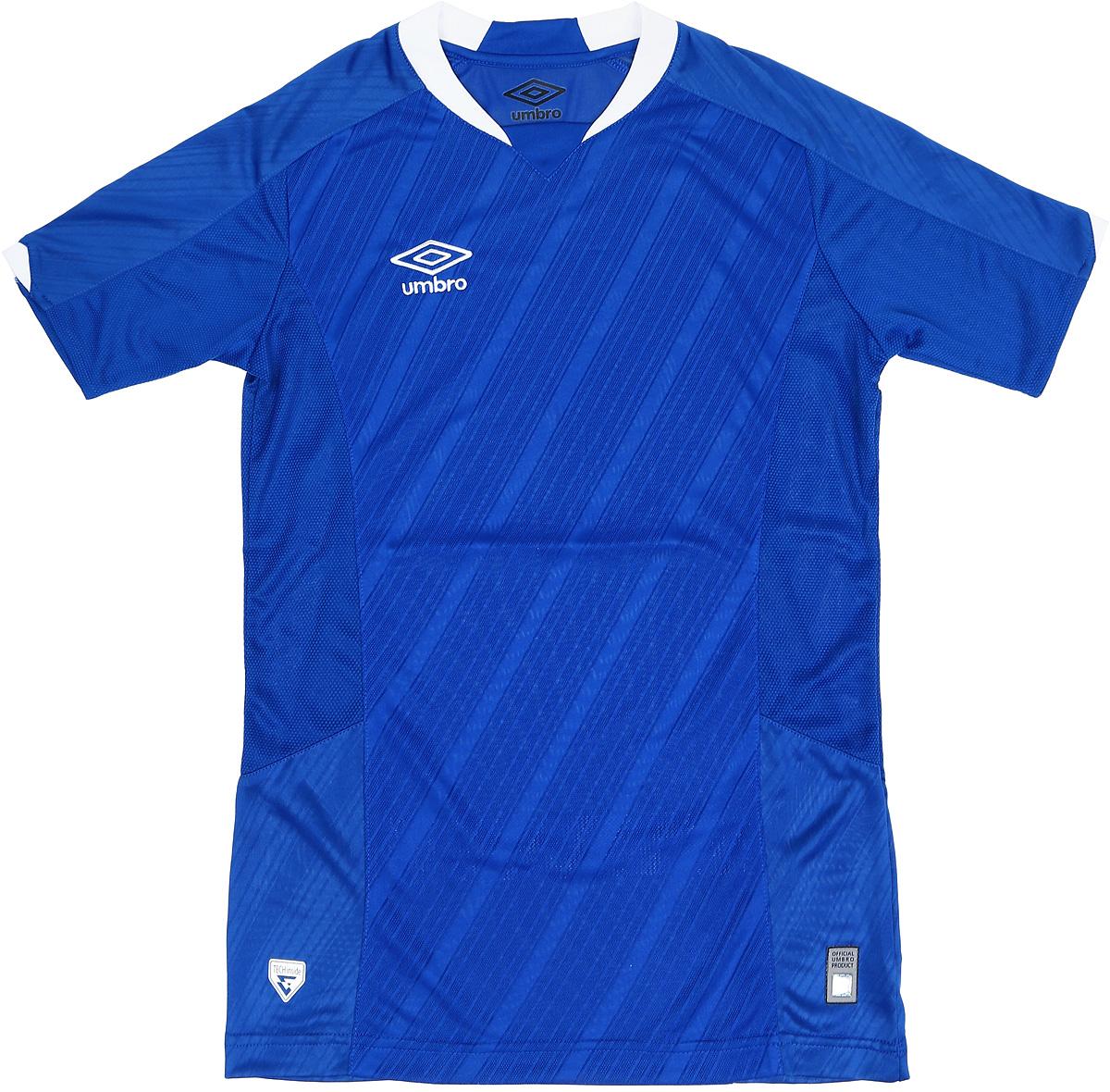 Футболка для мальчика Umbro Armada Jersey Ss, цвет: синий, белый. 120115. Размер YXL (158)120115Технологичная игровая футболка футбольная для взрослых. Прекрасно подойдет для игр и частых и активных футбольных тренировок. Прилегающий силуэт для большего комфорта и удобства в игре. Выполнена из воздухопроницаемого трикотажа с перфорированным рисунко на передней части. Вставки из сетки под рукавом и на боковой части для отвода влаги. Технология Tech Inside.