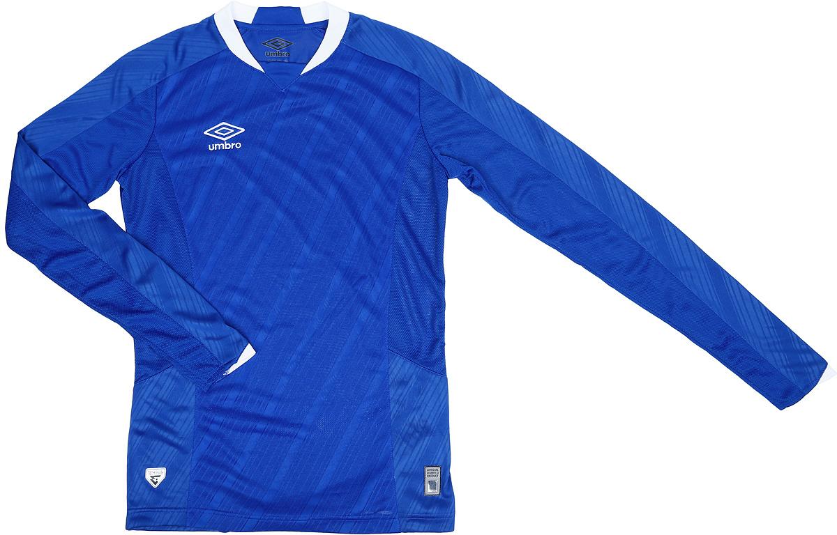 Футболка для мальчика Umbro Armada Jersey Ls, цвет: синий, белый. 110115. Размер YXL (158) футболка для мальчика umbro bradfield jersey l s цвет белый красный 60027u размер yxl 158