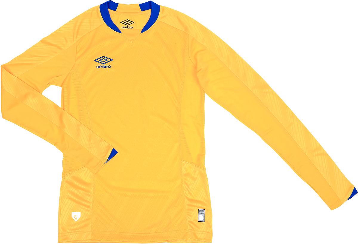 Футболка для мальчика Umbro Armada Jersey Ls, цвет: желтый, синий. 110115. Размер YXL (158) футболка для мальчика umbro bradfield jersey l s цвет белый красный 60027u размер yxl 158