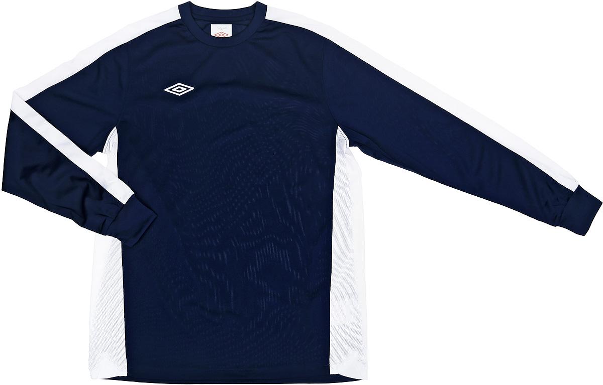 Футболка с длинным рукавом для мальчика Umbro Bradfield Jersey L/S, цвет: темно-синий, белый. 60027U. Размер YL (152)60027UФутболка с длинным рукавом для мальчика, выполненная из 100% полиэстера, отлично подойдет для игры в футбол. Модель с круглым вырезом горловины оформлена изображением бренда. Рукава дополнены эластичными манжетами.