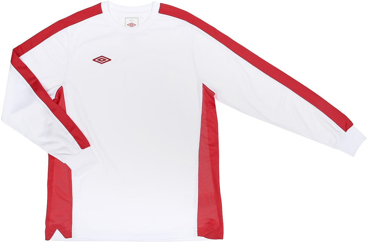 Футболка с длинным рукавом для мальчика Umbro Bradfield Jersey L/S, цвет: белый, красный. 60027U. Размер YL (152) футболка для мальчика umbro bradfield jersey l s цвет белый красный 60027u размер yxl 158
