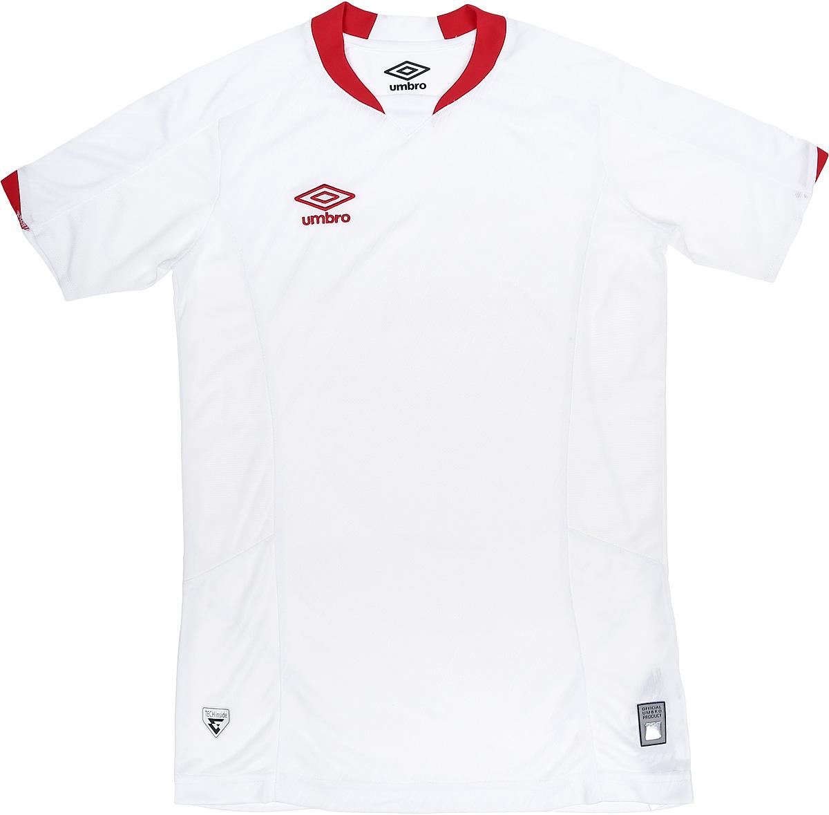 Футболка для мальчика Umbro Armada Jersey Ss, цвет: белый, красный. 120115. Размер YXL (158)120115Технологичная игровая футболка футбольная для взрослых. Прекрасно подойдет для игр и частых и активных футбольных тренировок. Прилегающий силуэт для большего комфорта и удобства в игре. Выполнена из воздухопроницаемого трикотажа с перфорированным рисунко на передней части. Вставки из сетки под рукавом и на боковой части для отвода влаги. Технология Tech Inside.