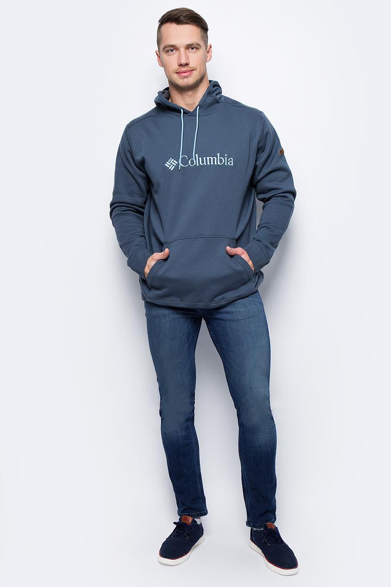 Толстовка мужская Columbia Basic Logo Ii Hoodie M, цвет: темно-синий. 1681661-435. Размер M (46/48) мужская одежда aston случайные случайные сшитые мужские рубашки с длинными рукавами синяя сетка 170 m a14116303
