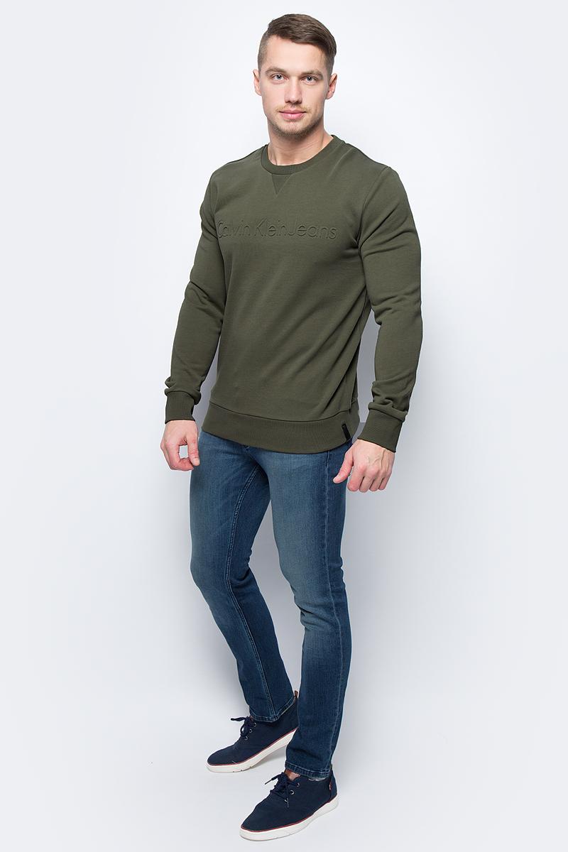 Джемпер мужской Calvin Klein Jeans, цвет: зеленый. J30J302267_3660. Размер L (46/48)J30J302267_3660Джемпер мужской Calvin Klein Jeans выполнен из натурального хлопка. Модель с круглым вырезом горловины и длинными рукавами.