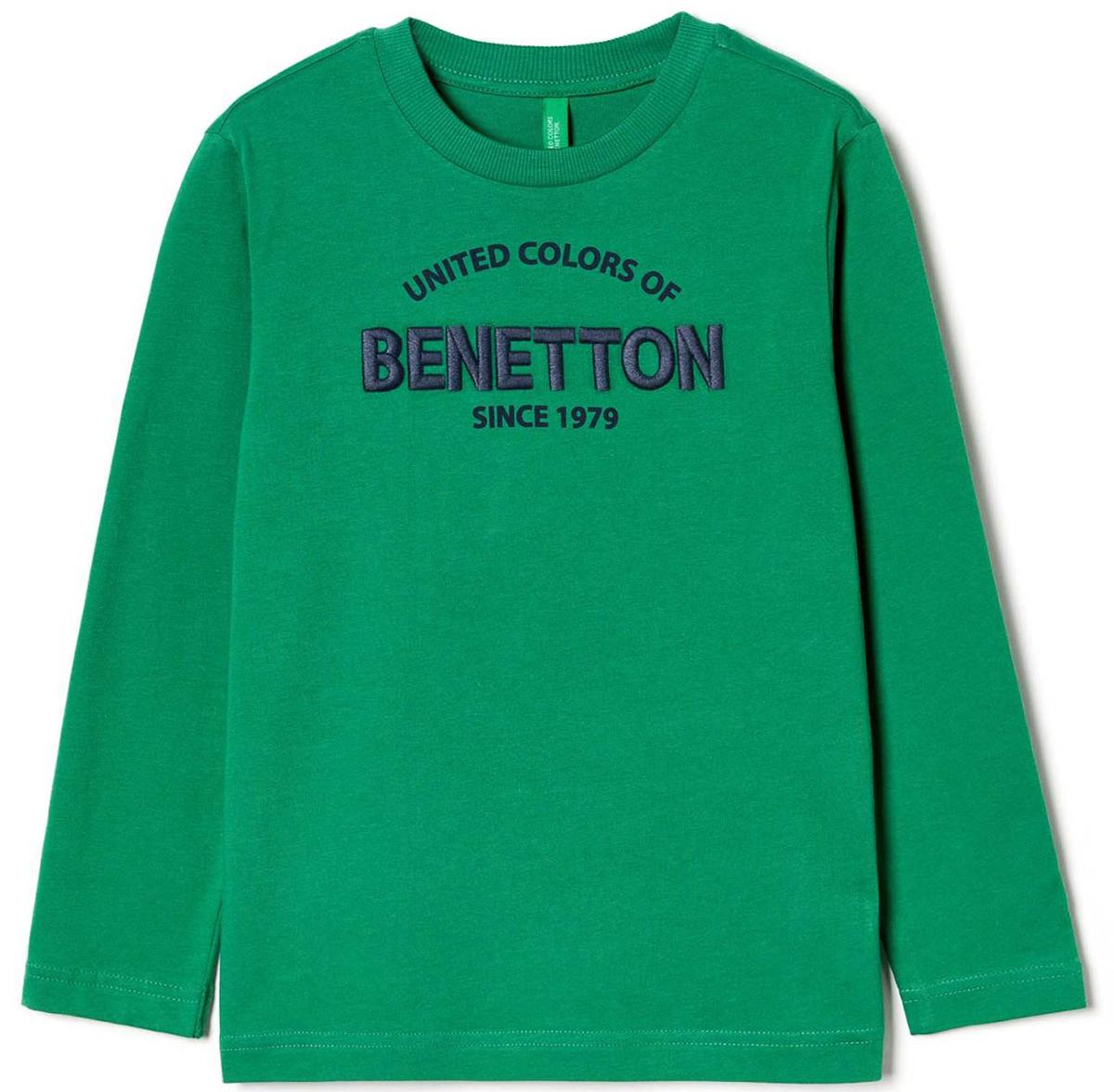 Лонгслив для мальчика United Colors of Benetton, цвет: зеленый. 3096C13GW_327. Размер 1603096C13GW_327Лонгслив для мальчика United Colors of Benetton выполнен из натурального хлопка. Модель с круглым вырезом горловины и длинными рукавами.