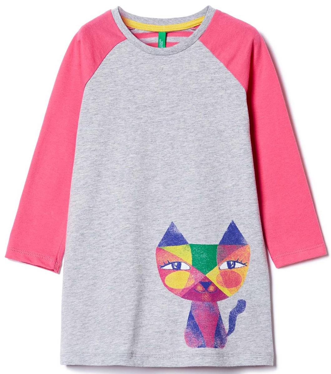Платье для девочек United Colors of Benetton, цвет: серый. 3096F16TP_501. Размер 903096F16TP_501