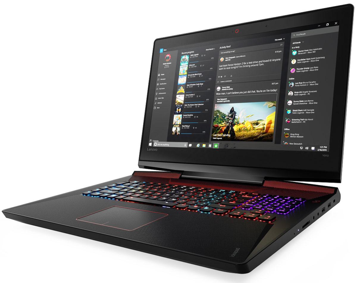 Lenovo IdeaPad Y910, Black (80V1000GRK)80V1000GRKLenovo IdeaPad Y910 отлично подходит для игр, просмотра фильмов и изображений.Высокопроизводительный процессор, видеокарта и аудиосистема, а также сверхчувствительная клавиатура с подсветкой, режим разгона процессора и система охлаждения обеспечивают высочайшую игровую мощь Ideapad Y910. Дополнительная оперативная память и высокопроизводительные накопители дают непревзойденные возможности.Процессоры 6-го поколения Intel Core серии i устанавливают новые стандарты производительности. Высокопроизводительные, многофункциональные процессоры со встроенной системой безопасности открывают качественно новые возможности для работы, творчества и игр.В погоне за врагом ты не можешь позволить себе уступить. Дискретная видеокарта NVIDIA GeForce и технология G-Sync обеспечивают высокую четкость изображения и плавность работы устройства.Lenovo Ideapad Y910 отлично подходит для игр, просмотра фильмов и изображений. 17,3-дюймовый дисплей Full HD с антибликовым покрытием и поддержкой технологии In-Plane Switching (IPS) обеспечивает яркие цвета и почти 180-градусный угол обзора.Наслаждайтесь с технологией Dolby Home Theater объемным звуком везде, куда жизнь может вас занести. Встроенные стереофонические динамики JBL и сабвуфер обеспечивают превосходное качество звука в играх, при прослушивании музыки и просмотре видео.Высокая точность и скорость отклика благодаря высокопроизводительным технологиям Killer WLAN и Bluetooth 4.0 позволят окунуться в мир онлайн-игр.Система охлаждения обеспечивает регулировку скорости вращения вентиляторов и поддержку оптимальной температуры для повышения производительности и удобства использования вашего ноутбука.Точные характеристики зависят от модификации.Ноутбук сертифицирован EAC и имеет русифицированную клавиатуру и Руководство пользователя