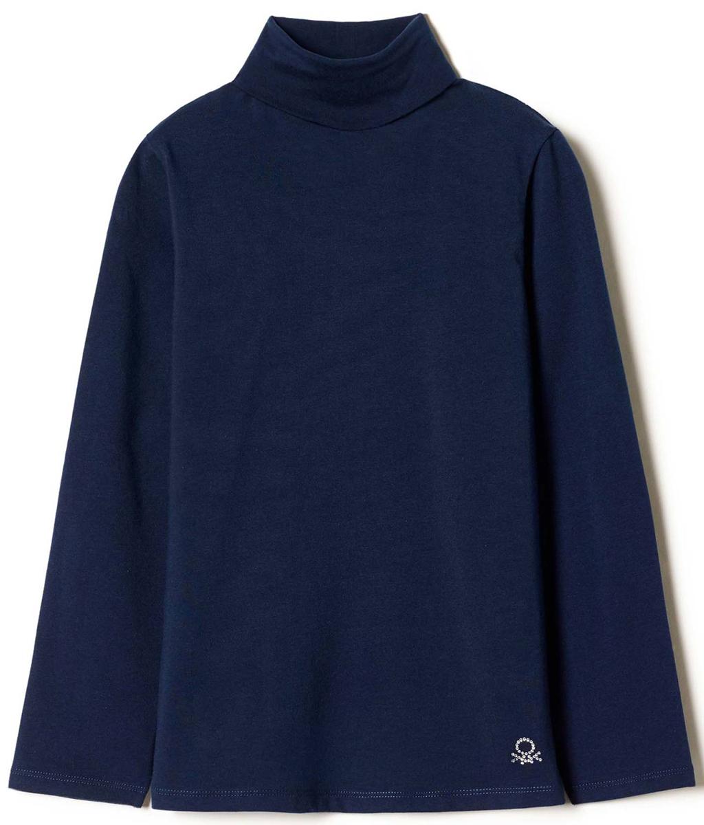 Водолазка для девочки United Colors of Benetton, цвет: синий. 3DR6C2458_13C. Размер 1603DR6C2458_13CВодолазка для девочки United Colors of Benetton выполнена из хлопка и эластана. Модель с воротником гольф и длинными рукавами.