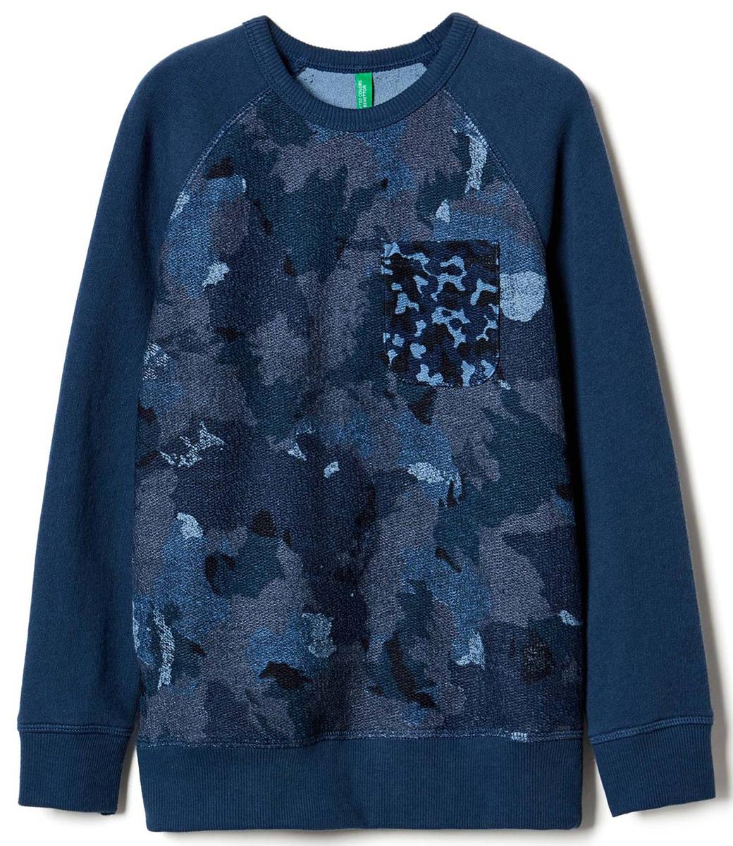 Свитер для мальчиков United Colors of Benetton, цвет: синий. 3DW6C139E_63D. Размер 1203DW6C139E_63D
