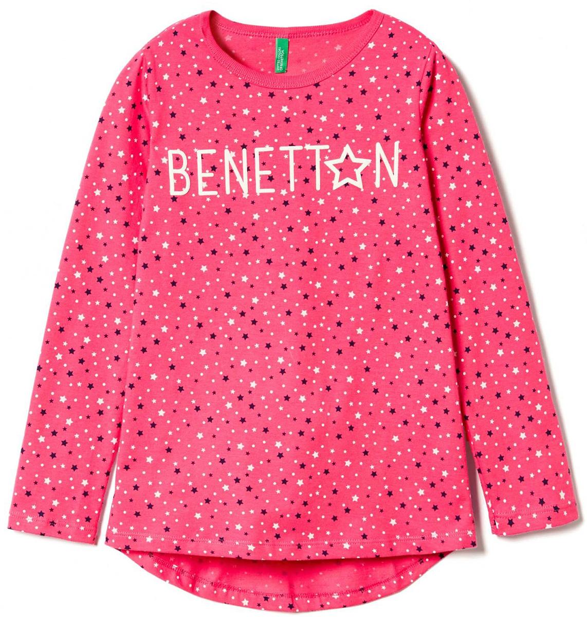 Лонгслив для девочки United Colors of Benetton, цвет: розовый. 3DY0C12VD_920. Размер 1003DY0C12VD_920Лонгслив для девочки United Colors of Benetton выполнен из хлопка. Модель с круглым вырезом горловины и длинными рукавами.