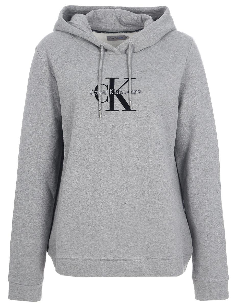 Толстовка женская Calvin Klein Jeans, цвет: серый. J20J205650_0380. Размер XL (48/50) футболка женская calvin klein jeans цвет бежевый j20j204833 размер xl 48 50