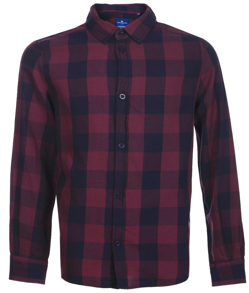 Рубашка для мальчика Tom Tailor, цвет: фиолетовый. 2033676.00.30_5465. Размер 1402033676.00.30_5465Рубашка для мальчика от Tom Tailor выполнена из натурального хлопка. Модель с длинными рукавами и отложным воротником застегивается на пуговицы.