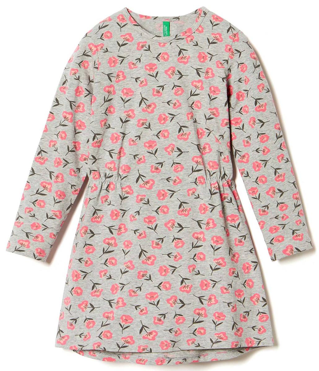 Платье для девочки United Colors of Benetton, цвет: светло-серый, розовый. 3DY2F12N6_925. Размер 903DY2F12N6_925Платье для девочки United Colors of Benetton выполнено из эластичного хлопка. Модель с круглым вырезом горловины и длинными рукавами оформлена оригинальным принтом.