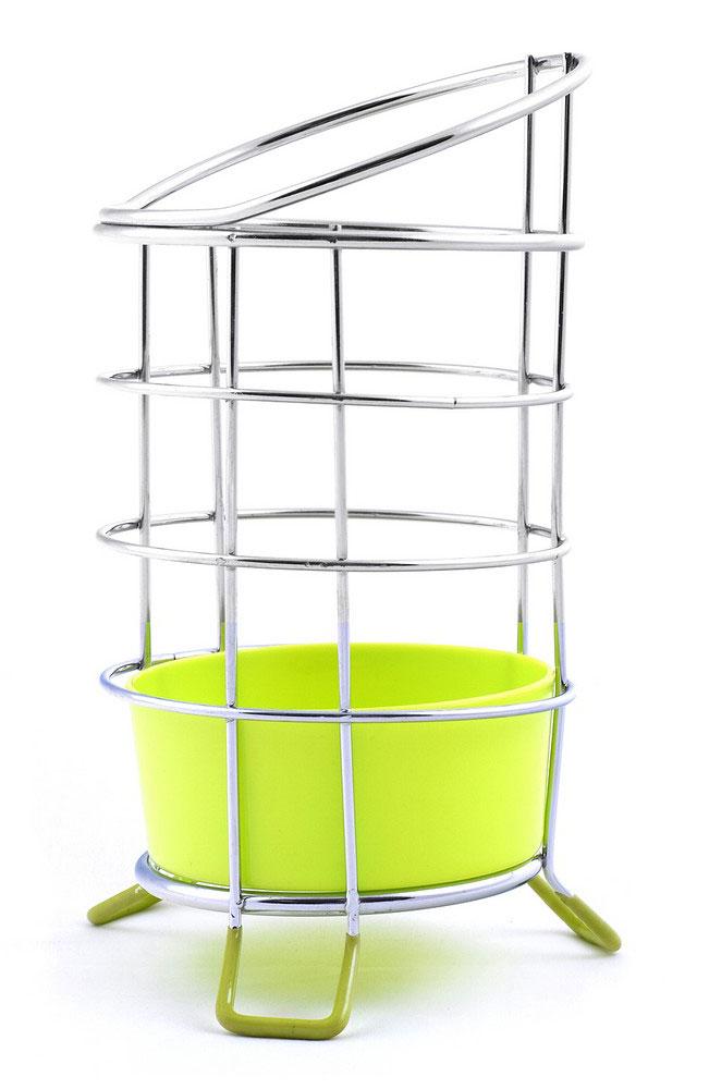 Подставка для столовых приборов Мультидом, с поддоном, цвет: салатовый, стальной, высота 13 см68.98Подставка для столовых приборов Мультидом выполнена из стальной хромированной проволоки и снабжена поддоном из полипропилена. Подставка предназначена для сушки и хранения столовых приборов, кухонных лопаток и инструментов. Отверстия на дне поддона позволяют стекать лишней жидкости. Ножки подставки прорезиненные, для большей устойчивости.