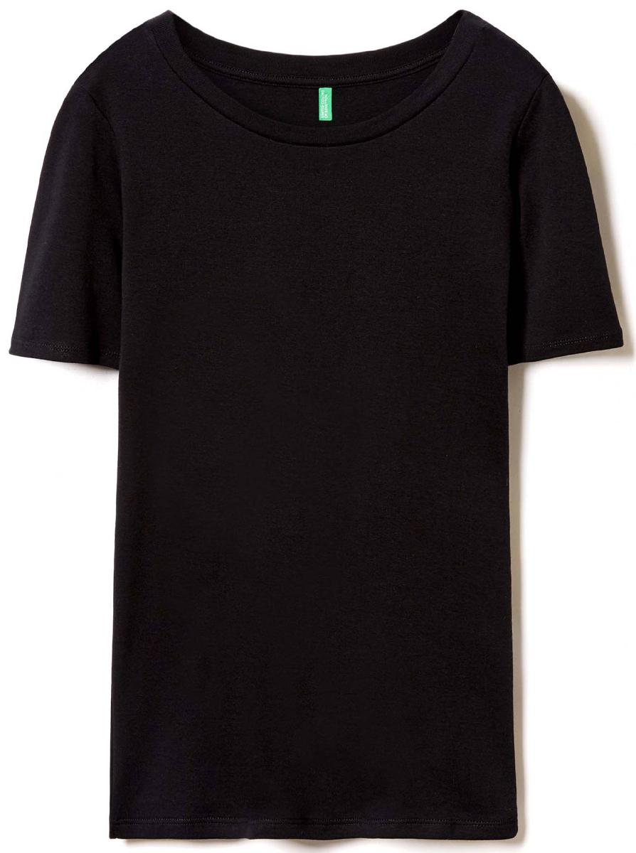Футболка женская United Colors of Benetton, цвет: черный. 3GA2E1G21_100. Размер M (44/46)3GA2E1G21_100Футболка женская United Colors of Benetton выполнена из качественного материала. Модель с круглым вырезом горловины и короткими рукавами.