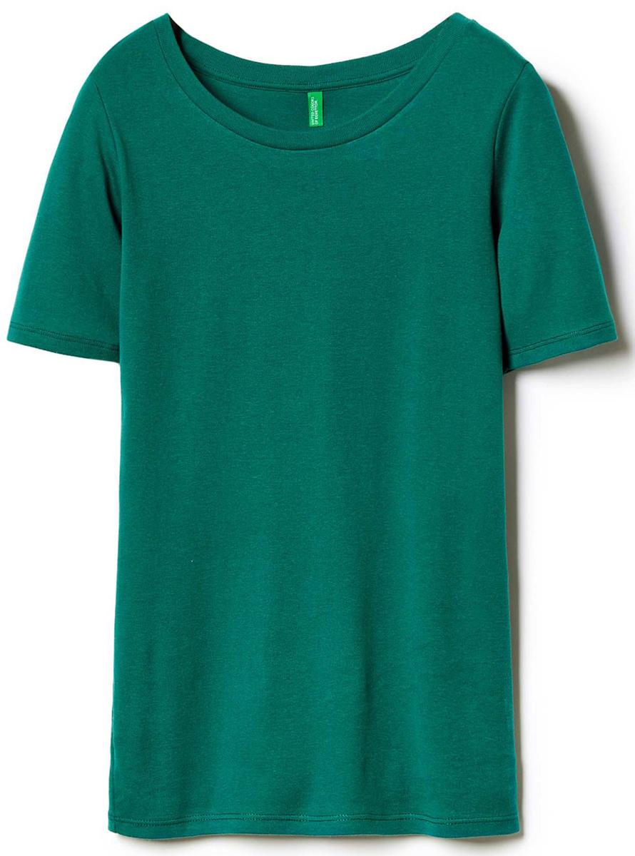 Футболка женская United Colors of Benetton, цвет: зеленый. 3GA2E1G21_28Y. Размер S (42/44)3GA2E1G21_28YФутболка женская United Colors of Benetton выполнена из качественного материала. Модель с круглым вырезом горловины и короткими рукавами.