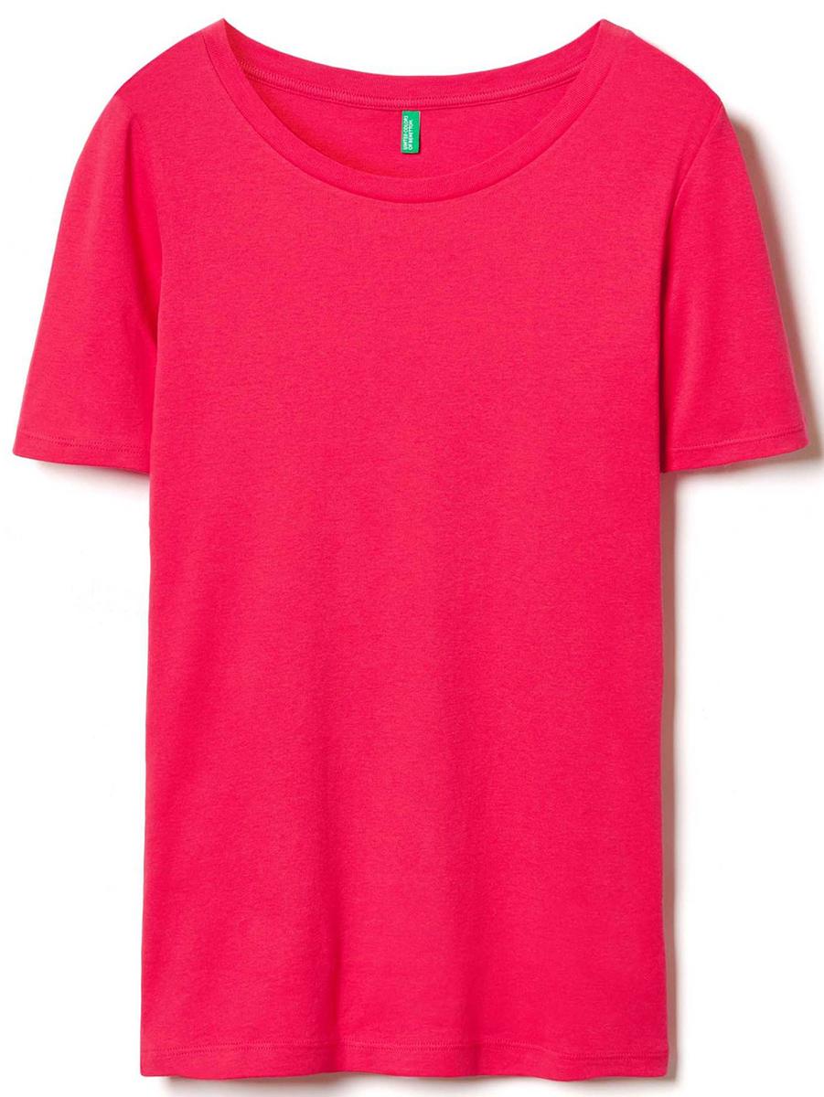 Футболка женская United Colors of Benetton, цвет: розовый. 3GA2E1G21_3A8. Размер XS (40/42)3GA2E1G21_3A8Футболка женская United Colors of Benetton выполнена из качественного материала. Модель с круглым вырезом горловины и короткими рукавами.