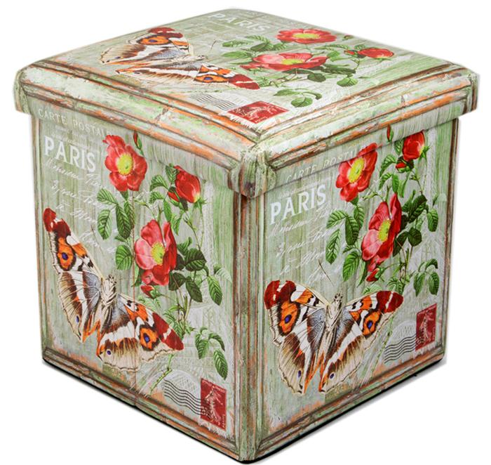 Пуф складной, с ящиком для хранения, цвет: мультиколор, 31 х 31 х 31 см. 138913