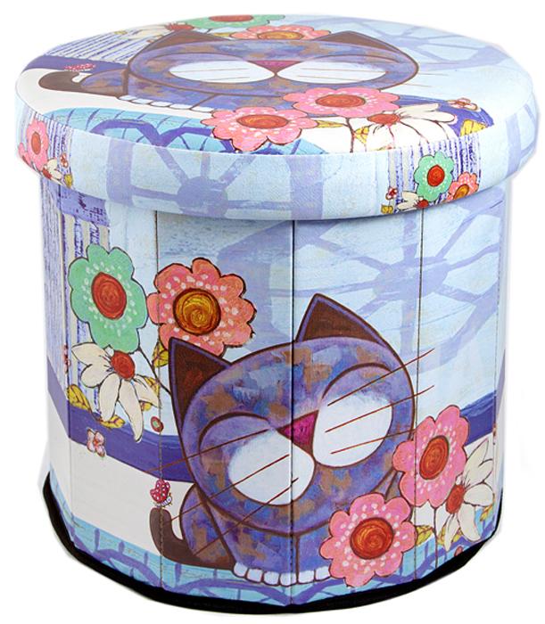 Пуф складной, с ящиком для хранения, цвет: голубой, сиреневый, розовый, 38 х 38 х 38 см. 138917