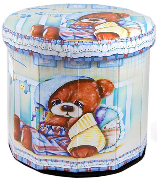 Пуф складной, с ящиком для хранения, цвет: голубой, коричневый, 38 х 38 х 35 см. 138919