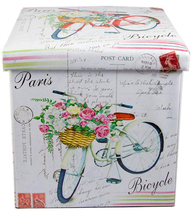 Пуф складной, с ящиком для хранения, цвет: молочный, мультиколор, 38 х 38 х 35 см. 138920
