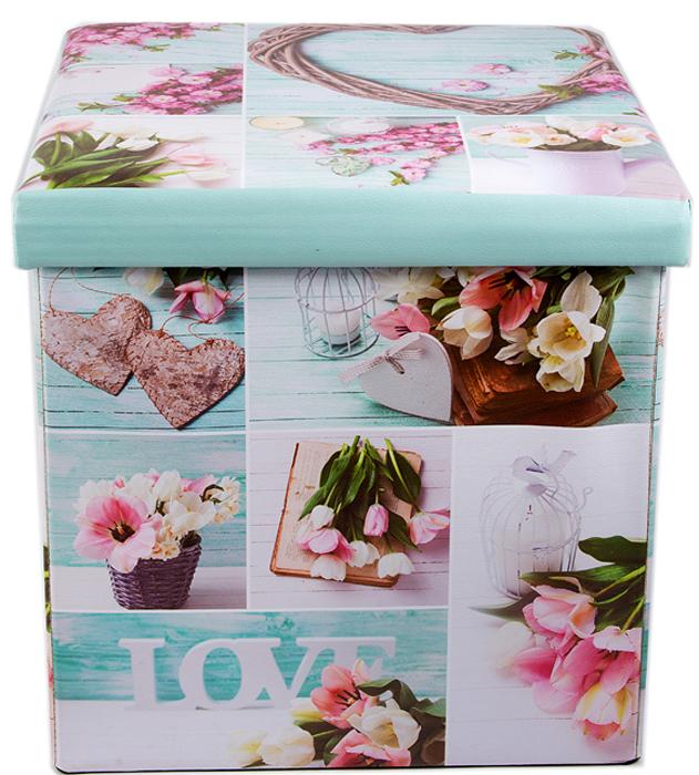 Пуф складной, с ящиком для хранения, цвет: голубой, розовый, 38 х 38 х 35 см. 138922