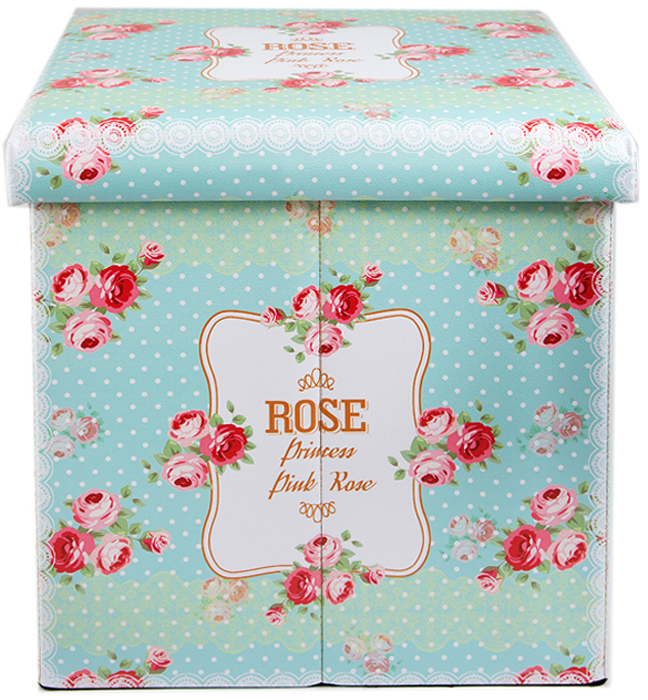 Пуф складной, с ящиком для хранения, цвет: голубой, розовый, 38 х 38 х 35 см. 138924
