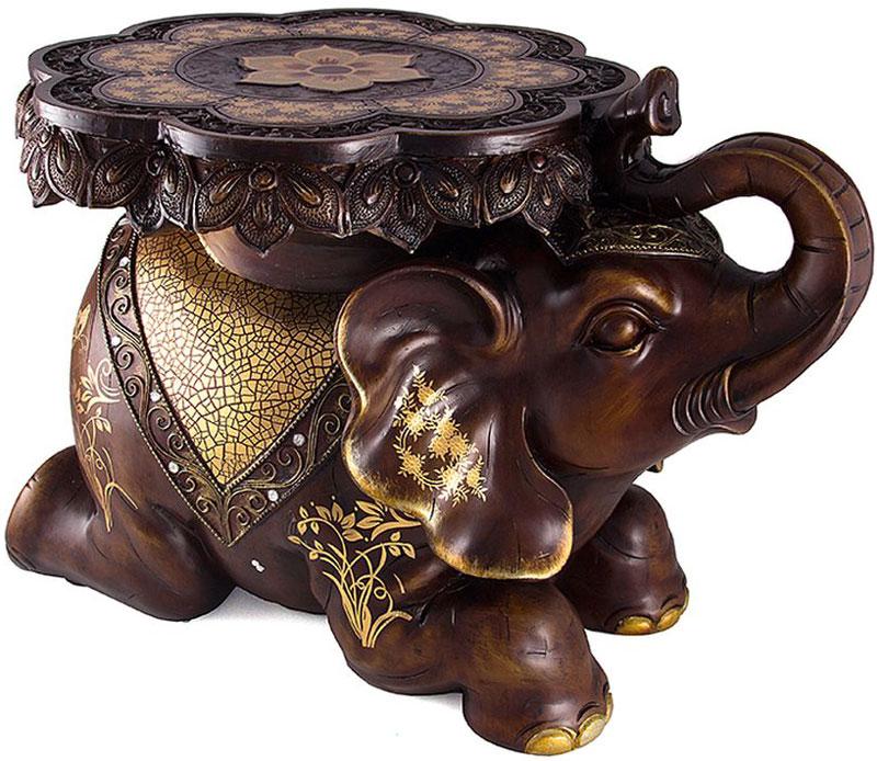 Статуэтка-подставка Слон, напольная, цвет: темно-коричневый, 48 х 35 х 35 см47102