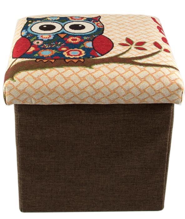 Пуф Сова, складной, с местом для хранения, цвет: коричневый, 31 х 31 х 31 см47106Компактный и легкий пуф с оригинальным узором - прекрасный выбор для тех, ктоценит красоту и функциональность. Его можно использовать для храненияразнообразных вещей - игрушек, одежды, аксессуаров, пледов, а также в качестведополнительного места для сидения или подставки под ноги. Изделие выполненоиз прочных и качественных материалов. Короб обтянут обивкой, что придает емумягкость.Особенности:целостность и прочность конструкции позволяет использовать пуф в качествеместа для сидения; небольшой вес изделия, его удобно переставлять и транспортировать; выдерживает нагрузку до 70 кг. Порадуйте себя пуфом, который дополнит декор помещения и создастдополнительное пространство для хранения.