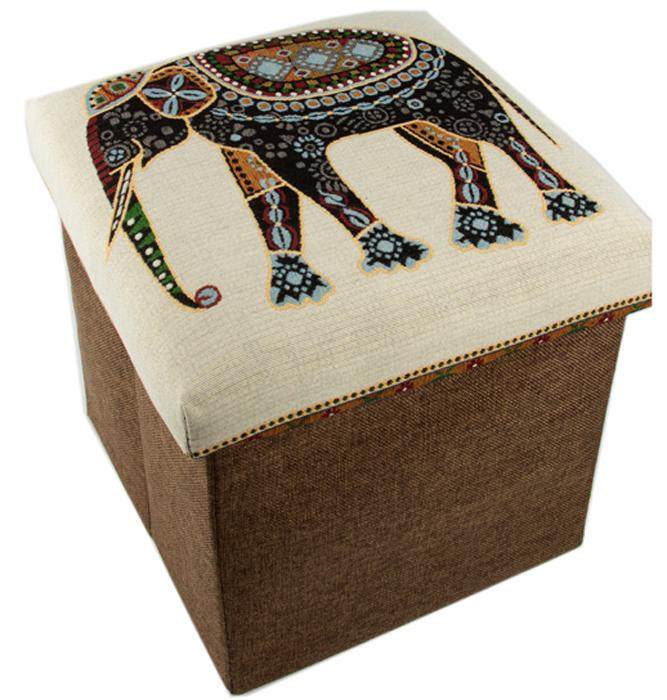 Пуф Слон, складной, с ящиком для хранения, цвет: коричневый, 31 х 31 х 31 см47107Складной пуф понравится всем ценителям оригинальных вещей. Изделие выполнено из оргалита с текстильной обивкой. Благодаря удобной конструкции складывается и раскладывается одним движением. В сложенном виде пуф занимает минимум места, его легко хранить и перевозить.Внутри пуфа имеется место для хранения бытовых предметов, аксессуаров для обуви и многого другого.Стильный оригинальный пуф прекрасно впишется в интерьер прихожей, гостиной или спальни.