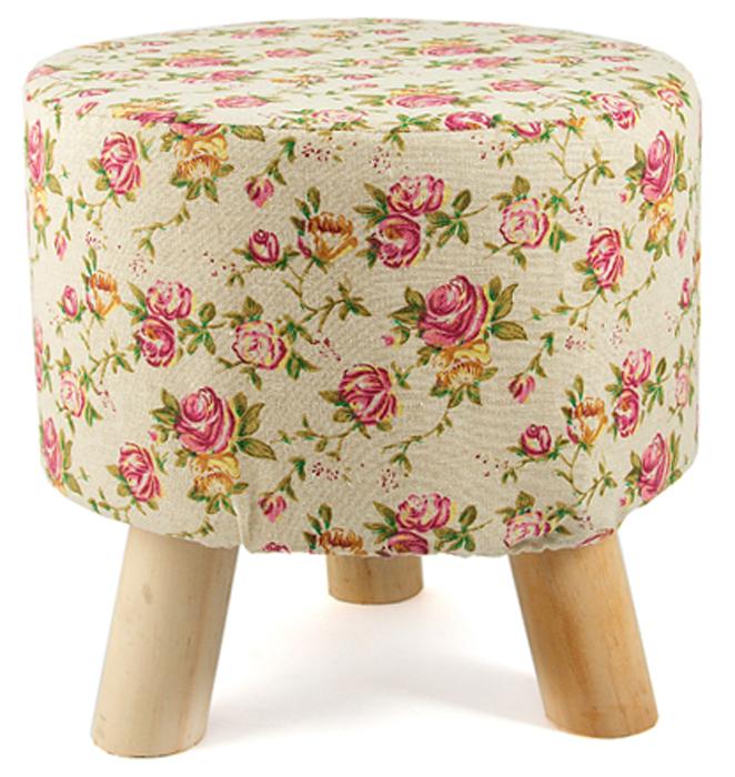 Пуф Розовые розы, цвет: бежевый, 32 х 28 см47121Стильный круглый пуф понравится всем ценителям оригинальных вещей. Изделие выполнено из дерева и фанеры с текстильной обивкой и поролоновым наполнителем.Оригинальный пуф прекрасно впишется в интерьер прихожей, гостиной или спальни.