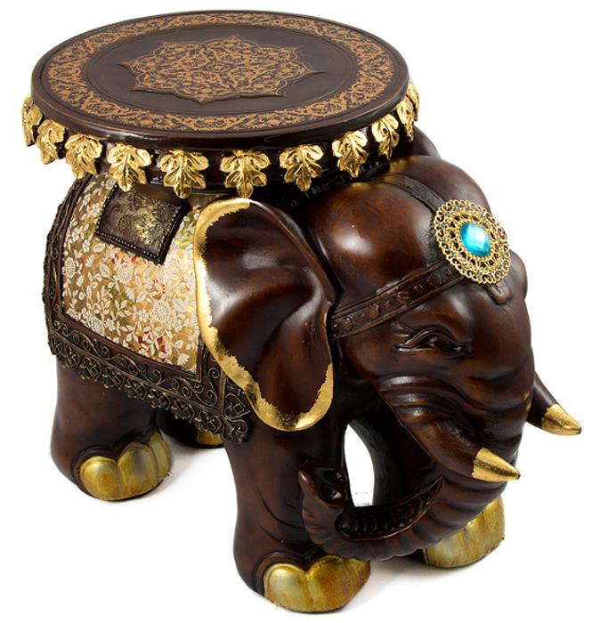 Статуэтка-подставка Слон, напольная, цвет: темно-коричневый, 46 х 26 х 30 см статуэтка кролик 30 х 20 х 29 см