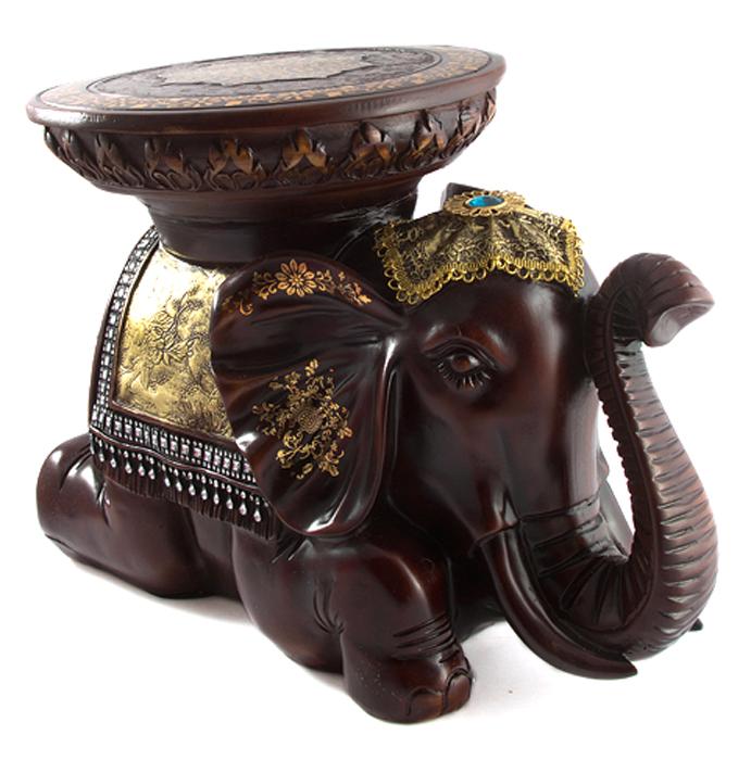 Статуэтка-подставка Слон, напольная, цвет: темно-коричневый, 51 х 30 х 34 см статуэтка кролик 30 х 20 х 29 см