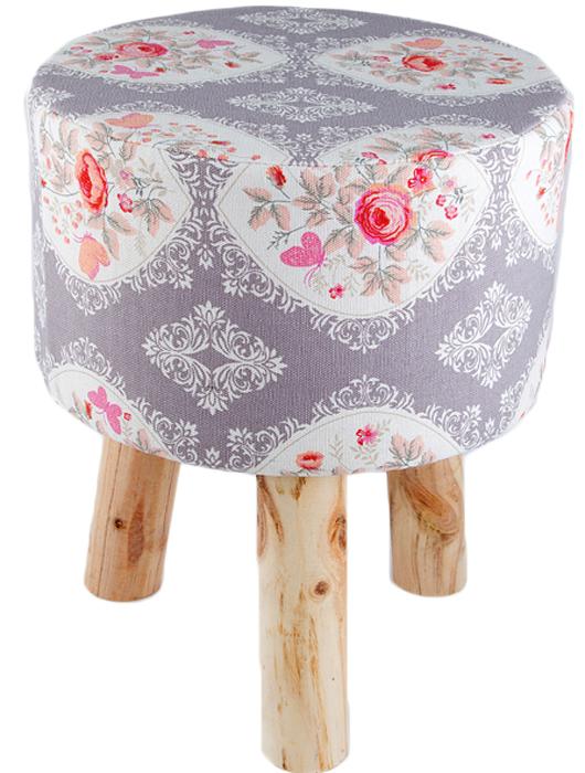 Пуф Розовые розы, цвет: серый, 32 х 28 см47125Стильный круглый пуф понравится всем ценителям оригинальных вещей. Изделие выполнено из дерева и фанеры с текстильной обивкой и поролоновым наполнителем.Оригинальный пуф прекрасно впишется в интерьер прихожей, гостиной или спальни.