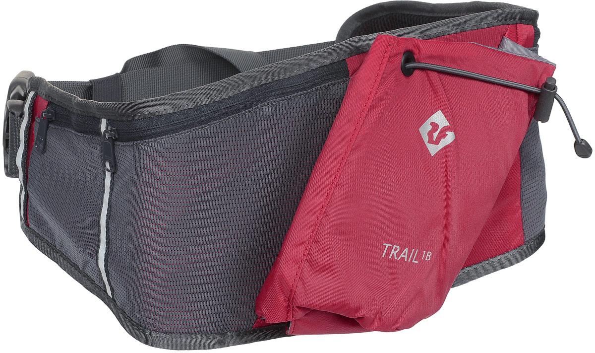 Сумка поясная Red Fox Trail 1B, цвет: красный. 10540901054090Сумка на пояс Red Fox Trail 1B - это удачный выбор для спортсменов и любителей пеших походов. Модель имеет один нашивной карман для бутылки и фляги с водой и три кармана на молнии. Поясной ремешок сумки регулируется по размеру.Размер сумки: 64 х 18 см.