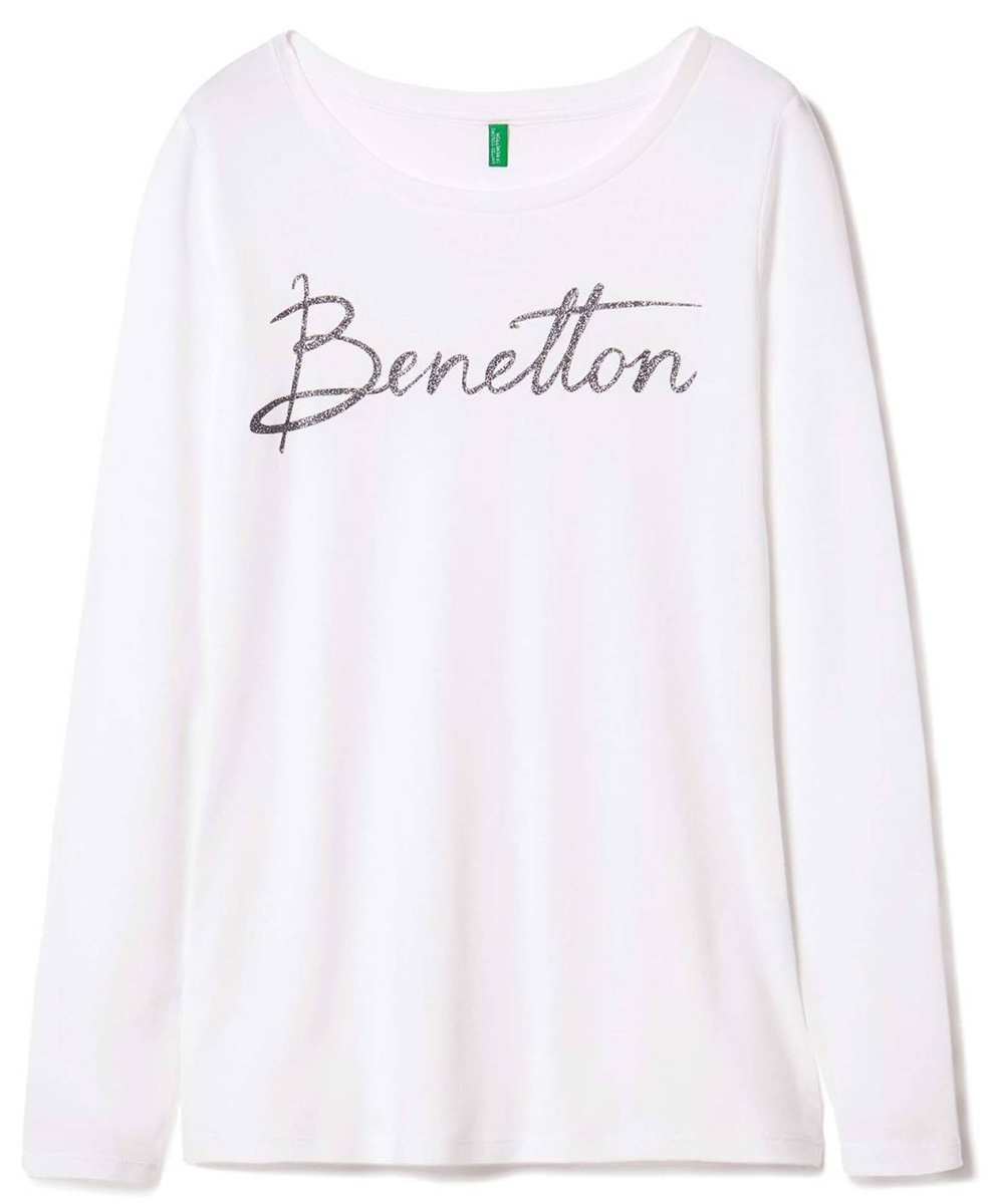 Лонгслив женский United Colors of Benetton, цвет: белый. 3GA2E1G26_101. Размер S (42/44)3GA2E1G26_101Лонгслив женский United Colors of Benetton выполнен из натурального хлопка. Модель с круглым вырезом горловины и длинными рукавами.