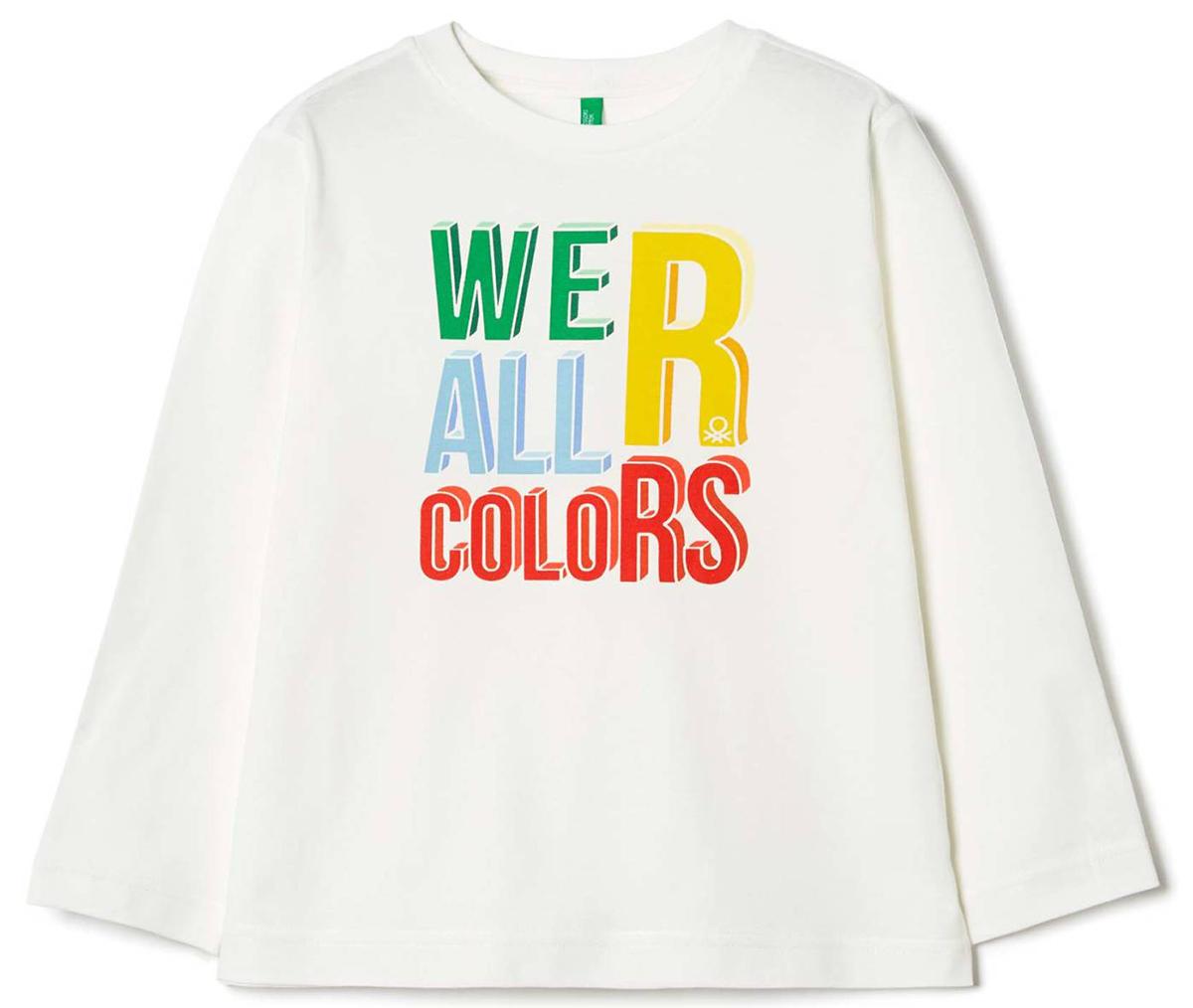 Лонгслив для мальчика United Colors of Benetton, цвет: белый. 3I1XC1389_074. Размер 1203I1XC1389_074Лонгслив для мальчика United Colors of Benetton выполнен из натурального хлопка. Модель с круглым вырезом горловины и длинными рукавами.