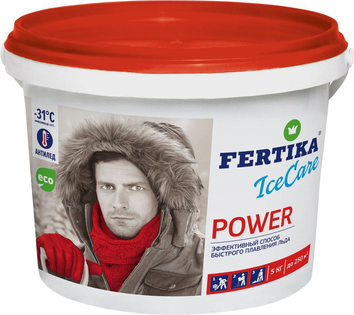 Реагент противогололедный Fertika IceCare Power, 5 кгBi-fertika0063Противогололедный реагент хлористый кальций в гранулах Fertika IceCare Power обладает высокой плавящей способностью и работает в экстремальных температурах до -31°С.Преимущества:Плавит лед в 2-5 раз быстрее, чем другие противоледные реагенты.Работает в экстремальных температурных диапазонах.Экологически чист и безопасен при соблюдении норм внесения.Способ применения:1. Предварительно очистить поверхность от рыхлого снега.2. Равномерно рассыпать материал на обрабатываемую поверхность, средний расход материала составляет до 70 гр/м2 при толщине льда до 5 мм и температуре до -10 °С. Рекомендуемый расход материала в зависимости от погодных условий приведен в таблице.3. Убрать разрушенный лед и снег лопатой, либо щеткой по окончанию процесса плавления льда во избежание повторного образования льда.MEРЫ ПРЕДОСТОРОЖНОСТИ:Не применять в пищу.Оказывает умеренно раздражающее действие на кожу и слизистые оболочки.При попадании в глаза промыть водой.При работе с материалом рекомендуется использовать перчатки.Не рекомендуется применять для цементнобетонных покрытий в течении года после укладки цементнобетонной смеси.СОСТАВ ПРОТИВОГОЛОЛЕДНОГО РЕАГЕНТА:гранулированный высокочистый хлорид кальция (CAS 10043-52-4) с добавлением антикоррозийных ингибиторов. Материал пожаро- и взрывобезопасен, не содержит тяжелых металлов и других вредных для людей и животных примесей.ХРАНЕНИЕ:Хранить в в недоступных для детей и домашних животных местах, в неповрежденной упаковке, в крытых помещениях, исключающих попадание влаги и прямых солнечных лучей. Материал гигроскопичен, для сохранения потребительских свойств необходимо плотно закрывать упаковку после каждого применения.