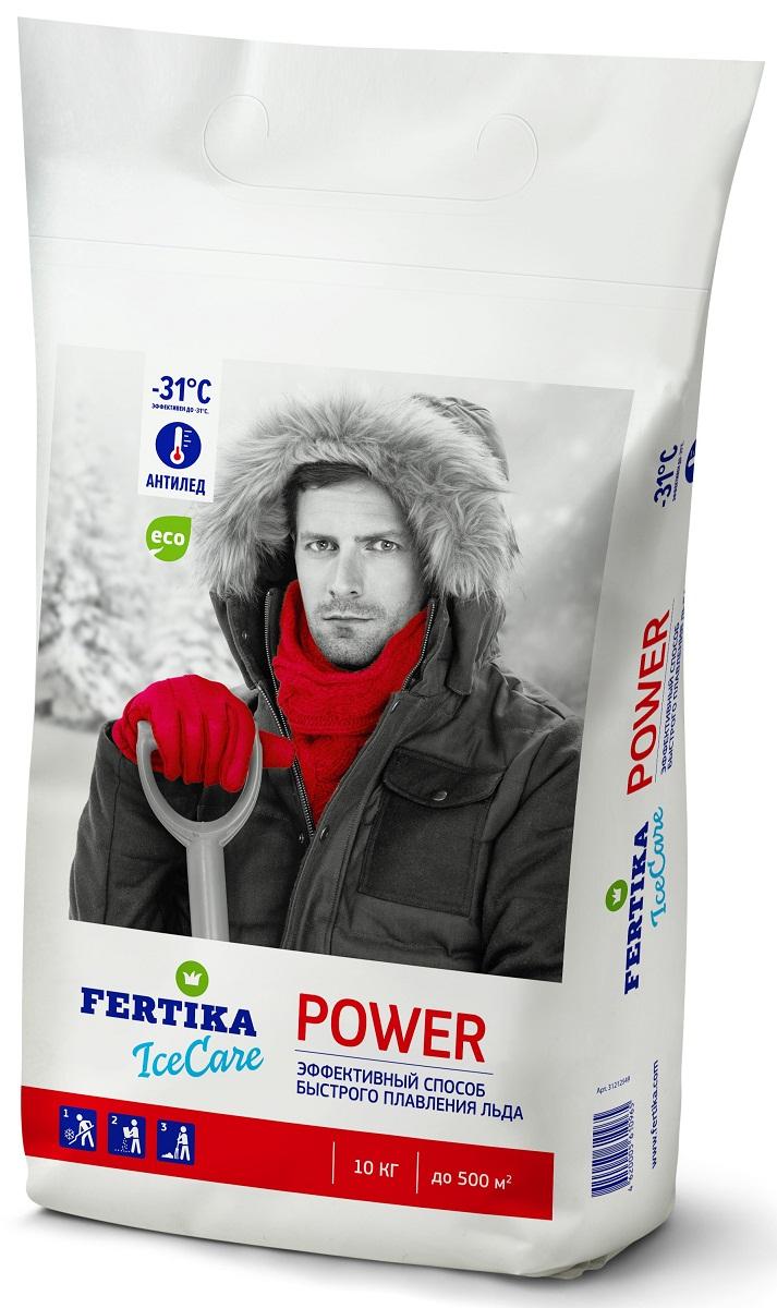 Реагент противогололедный Fertika IceCare Power, 10 кгBi-fertika0064Безопасный противогололедный реагент IceCare Power.Противогололедный реагент хлористый кальций в гранулах Fertika IceCare Power обладает высокой плавящей способностью и работает в экстремальных температурах до -31°С.Попадая на поверхность, он мгновенно вступает в реакцию, проникая сквозь снежно-ледяные отложения, разрушает структуру льда, препятствуя повторному образованию гололеда. Разрушает лед и связь льда с поверхностью, после чего остатки расплавленного снега и льда легко убираются механическим способом.Преимущества:- Плавит лед в 2-5 раз быстрее, чем другие противоледные реагенты- Работает в экстремальных температурных диапазонах- Экологически чист и безопасен при соблюдении норм внесенияСпособ применения:1. Предварительно очистить поверхность от рыхлого снега.2. Равномерно рассыпать материал на обрабатываемую поверхность, средний расход материала составляет до 70 гр/м2 при толщине льда до 5 мм и температуре до -10 °С. Рекомендуемый расход материала в зависимости от погодных условий приведен в таблице.3. Убрать разрушенный лед и снег лопатой, либо щеткой по окончанию процесса плавления льда во избежание повторного образования льда.MEРЫ ПРЕДОСТОРОЖНОСТИ- Не применять в пищу.- Оказывает умеренно раздражающее действие на кожу и слизистые оболочки.- При попадании в глаза промыть водой.- При работе с материалом рекомендуется использовать перчатки.- Не рекомендуется применять для цементнобетонных покрытий в течении года после укладки цементнобетонной смеси.СОСТАВ ПРОТИВОГОЛОЛЕДНОГО РЕАГЕНТАГранулированный высокочистый хлорид кальция (CAS 10043-52-4) с добавлением антикоррозийных ингибиторов. Материал пожаро- и взрывобезопасен, не содержит тяжелых металлов и других вредных для людей и животных примесей.ХРАНЕНИЕХранить в в недоступных для детей и домашних животных местах, в неповрежденной упаковке, в крытых помещениях, исключающих попадание влаги и прямых солнечных лучей. Материал гигроскопичен, для с