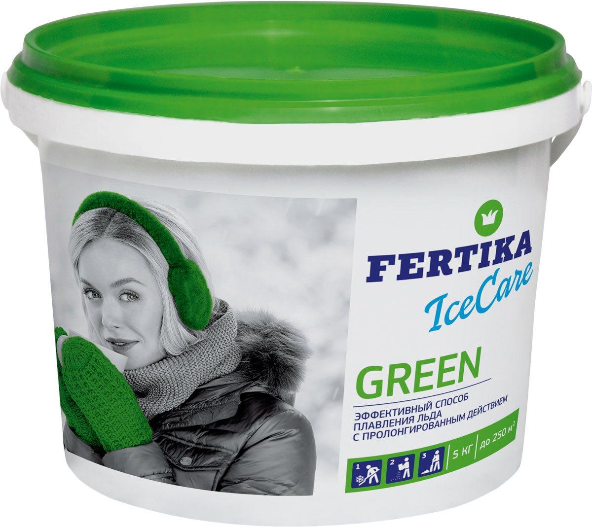 Реагент противогололедный Fertika IceCare Green, 5 кгBi-fertika0069Безопасный противогололедный реагент IceCare Green.Противогололедный реагент (кальций хлористый и натрий хлористый) Fertika IceCare Green, предназначен для обработки пешеходных зон и тротуаров с твердым покрытием, дорог и улиц, внутридворовых территорий, лестничных сходов, пандусов.Действует при контакте со снегом и льдом. Эффективен для разрушения образовавшегося льда, снежного наката и для предотвращения образования гололеда. Разрушает лед и связь льда с поверхностью, после чего поверхность возможно легко очистить.Преимущества:• Плавит лед в 2-5 раз быстрее, чем другие противоледные реагенты• Работает в экстремальных температурных диапазонах• Экологически чист и безопасен при соблюдении норм внесенияСпособ применения:1. Предварительно очистить поверхность от рыхлого снега.2. Равномерно рассыпать материал на обрабатываемую поверхность, средний расход материала составляет до 70 гр/м2 при толщине льда до 5 мм и температуре до -10 °С. Рекомендуемый расход материала в зависимости от погодных условий приведен в таблице.3. Убрать разрушенный лед и снег лопатой, либо щеткой по окончанию процесса плавления льда во избежание повторного образования льда.ПРОФИЛАКТИКА ОБРАЗОВАНИЯ ГОЛОЛЕДАМожет использоваться в качестве превентивного средства против образования наледи за счет пролонгированного действия.В случае прогнозируемых осадков и/или образования гололеда в ночные и утренние часы рекомендуется равномерно рассыпать материал на обрабатываемую поверхность ДО начала осадков. Расход материала составляет около 30 гр/м2 при температуре до -10 °С. При более низких температурах и значительных осадках расход материала рекомендуется увеличить. Использование противогололедных материалов в соответствии с нормами расходов позволит качественно и оперативно достичь желаемого результата.MEРЫ ПРЕДОСТОРОЖНОСТИ• Не применять в пищу.• Оказывает раздражающее действие на кожу и слизистые оболочки• При попадании в глаза вызывает в