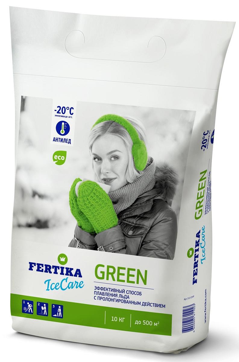 Реагент противогололедный Fertika IceCare Green, 10 кгBi-fertika0070Безопасный противогололедный реагент IceCare Green.Противогололедный реагент (кальций хлористый и натрий хлористый) Fertika IceCare Green, предназначен для обработки пешеходных зон и тротуаров с твердым покрытием, дорог и улиц, внутридворовых территорий, лестничных сходов, пандусов.Действует при контакте со снегом и льдом. Эффективен для разрушения образовавшегося льда, снежного наката и для предотвращения образования гололеда. Разрушает лед и связь льда с поверхностью, после чего поверхность возможно легко очистить.Преимущества:• Плавит лед в 2-5 раз быстрее, чем другие противоледные реагенты• Работает в экстремальных температурных диапазонах• Экологически чист и безопасен при соблюдении норм внесенияСпособ применения:1. Предварительно очистить поверхность от рыхлого снега.2. Равномерно рассыпать материал на обрабатываемую поверхность, средний расход материала составляет до 70 гр/м2 при толщине льда до 5 мм и температуре до -10 °С. Рекомендуемый расход материала в зависимости от погодных условий приведен в таблице.3. Убрать разрушенный лед и снег лопатой, либо щеткой по окончанию процесса плавления льда во избежание повторного образования льда.ПРОФИЛАКТИКА ОБРАЗОВАНИЯ ГОЛОЛЕДАМожет использоваться в качестве превентивного средства против образования наледи за счет пролонгированного действия.В случае прогнозируемых осадков и/или образования гололеда в ночные и утренние часы рекомендуется равномерно рассыпать материал на обрабатываемую поверхность ДО начала осадков. Расход материала составляет около 30 гр/м2 при температуре до -10 °С. При более низких температурах и значительных осадках расход материала рекомендуется увеличить. Использование противогололедных материалов в соответствии с нормами расходов позволит качественно и оперативно достичь желаемого результата.MEРЫ ПРЕДОСТОРОЖНОСТИ• Не применять в пищу.• Оказывает раздражающее действие на кожу и слизистые оболочки• При попадании в глаза вызывает 