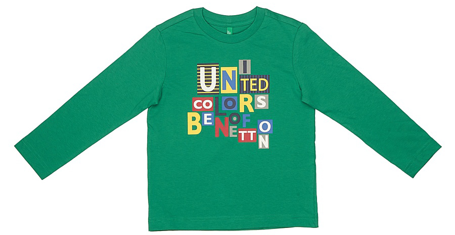 Майка для мальчиков United Colors of Benetton, цвет: зеленый. 3I1XC1389_327. Размер 1403I1XC1389_327