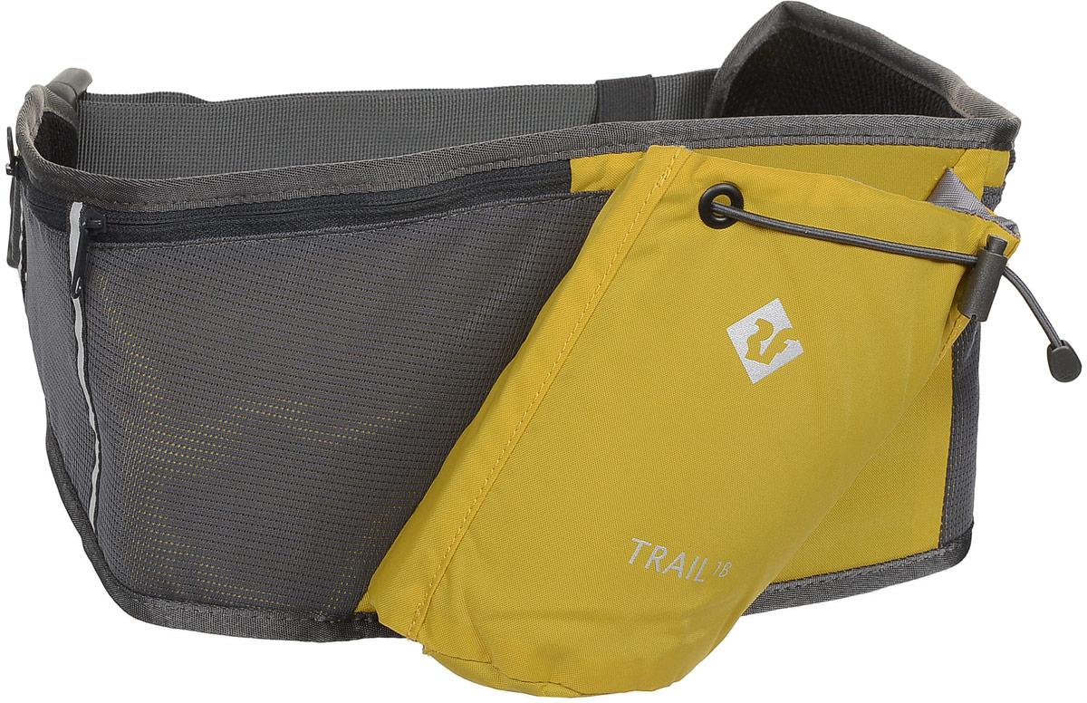 Сумка поясная Red Fox Trail 1B, цвет: янтарь. 10540901054090Сумка на пояс Red Fox Trail 1B - это удачный выбор для спортсменов и любителей пеших походов. Модель имеет нашивной карман для бутылки и фляги с водой и три кармана на молнии. Поясной ремешок сумки регулируется по размеру.Размер сумки: 54 х 19 см.