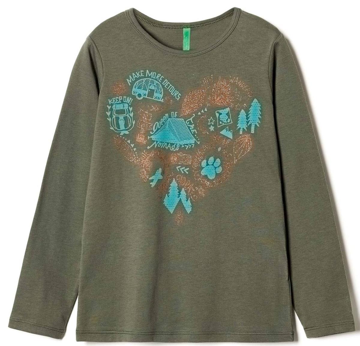 Лонгслив для девочки United Colors of Benetton, цвет: зеленый. 3I1XC139V_12G. Размер 1603I1XC139V_12GЛонгслив для девочки United Colors of Benetton выполнен из хлопка. Модель с круглым вырезом горловины и длинными рукавами.