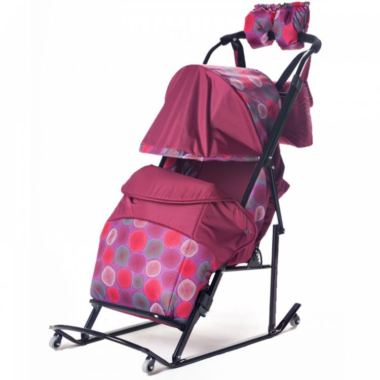 Мое Детство Санки-коляска Kristy Comfort Plus 3B цвет бордовый
