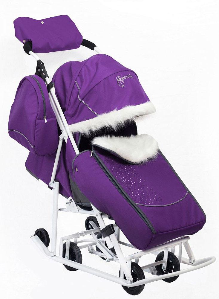 Мое Детство Санки-коляска Kristy Снеговик цвет фиолетовый - Катаемся с горки